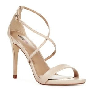 JustFab Nude Synclaire Strappy Heels